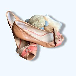 Tan and light coral Halogen peep toe kitten heels